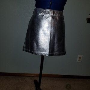 Forever 21 silver metallic like mini skirt